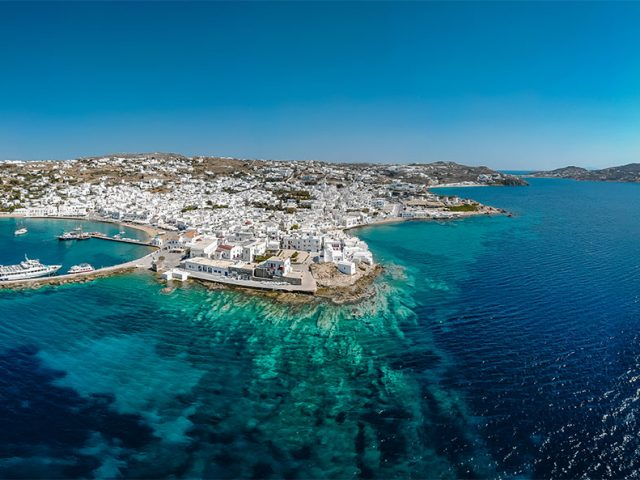 mykonos arial view